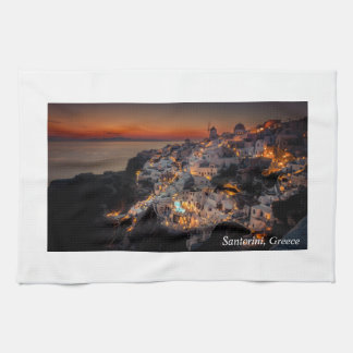 Santorini Sunset, Greece Tea Towel