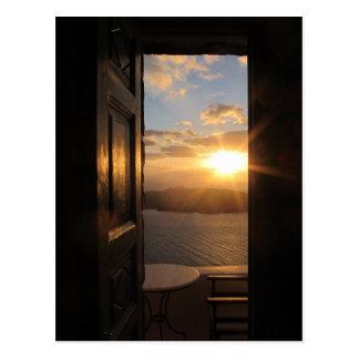 Santorini Sunset Postcard