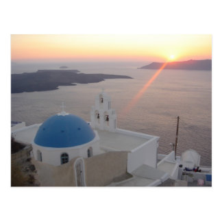 Santorini Sunset Postcard