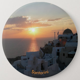 Santorini Sunset Round Button