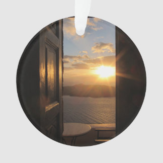Santorini sunset through door