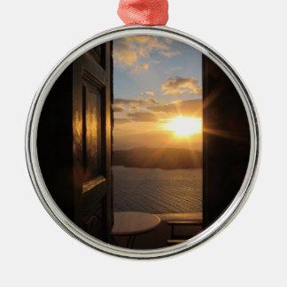 Santorini sunset through door christmas ornament