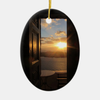 Santorini sunset through door christmas ornament