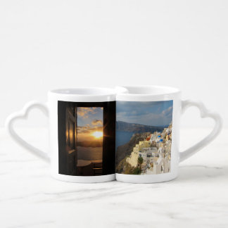 Santorini sunset through door coffee mug set