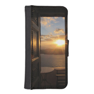 Santorini sunset through door iPhone SE/5/5s wallet case