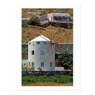 Santorini windmill postcard