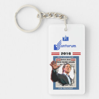Santorum 2016 Double-Sided rectangular acrylic key ring