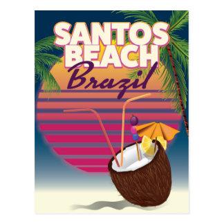Santos beach brazil vintage travel poster postcard