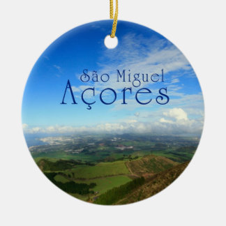 Sao Miguel island Azores Round Ceramic Decoration
