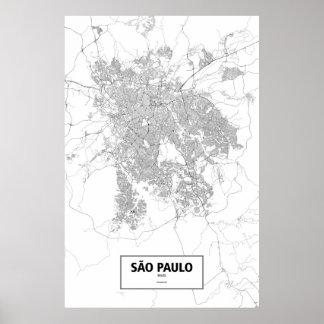 Sao Paulo, Brazil (black on white) Poster