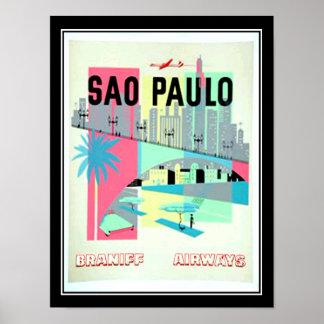 Sao Paulo Brazil Travel Vintage poster