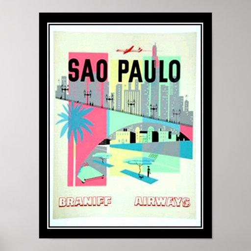 Sao Paulo Brazil Travel Vintage poster Print