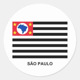 São Paulo, Brazil Waving Flag Round Sticker