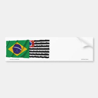 São Paulo & Brazil Waving Flags Bumper Sticker