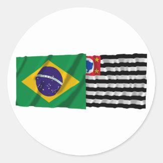 São Paulo & Brazil Waving Flags Sticker