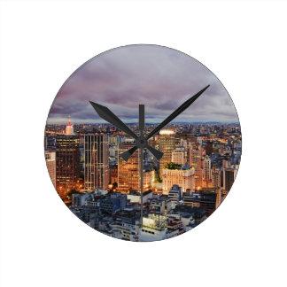 Sao Paulo Cityscape Round Clock