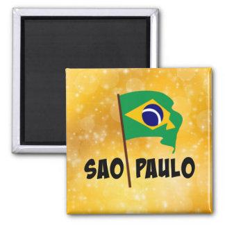 Sao Paulo, Flag of Brazil Square Magnet