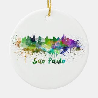 Sao Paulo skyline in watercolor Round Ceramic Decoration