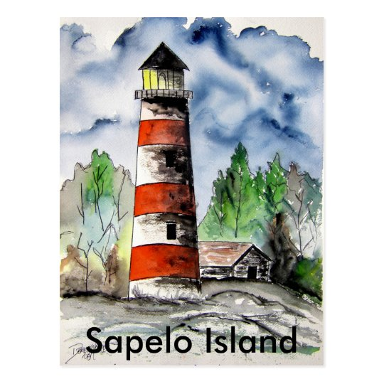 Sapelo Island Lighthouse Georgia Nautical art gift Postcard
