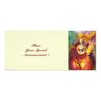 SAPHO , bright red yellow green 10 Cm X 24 Cm Invitation Card