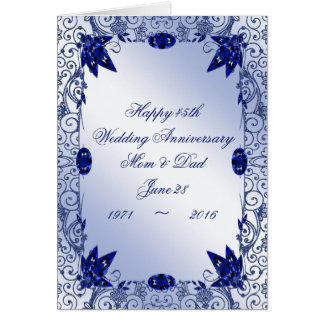 Sapphire 45th Wedding Anniversary Greeting Card