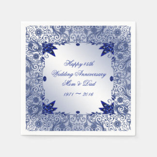 Sapphire 45th Wedding Anniversary Paper Napkins Disposable Serviette