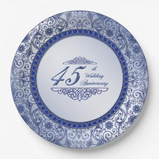 Sapphire 45th Wedding Anniversary Paper Plate