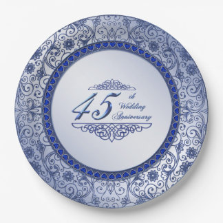 Sapphire 45th Wedding Anniversary Paper Plate 9 Inch Paper Plate
