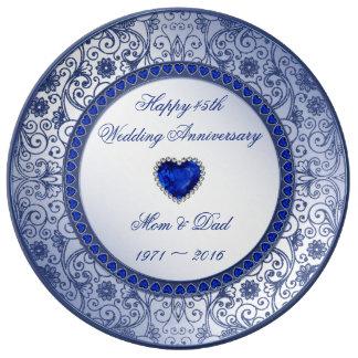 Sapphire 45th Wedding Anniversary Porcelain Plate