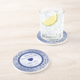 Sapphire 45th Wedding Anniversary Round Coaster