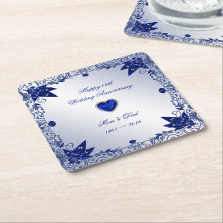 Sapphire 45th Wedding Anniversary Square Coaster Square Paper Coaster