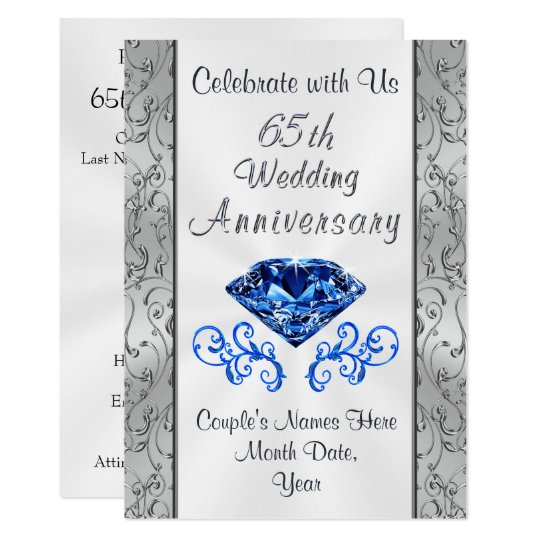65 Wedding Anniversary Gift: Sapphire 65th Wedding Anniversary Invitations