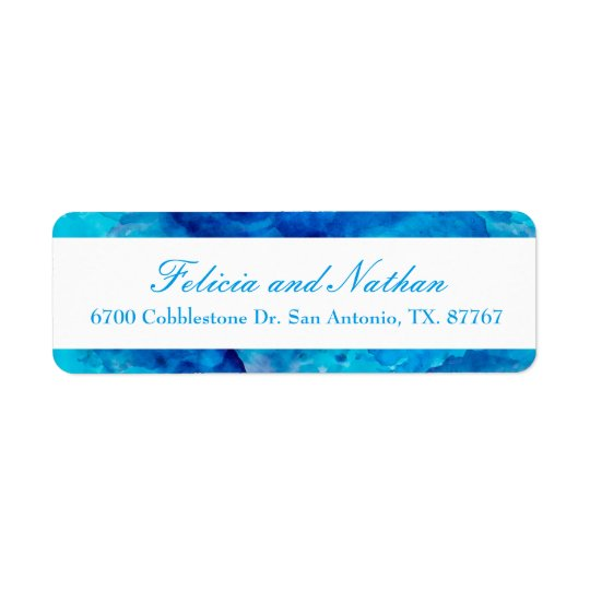 Sapphire Abstract Watercolor Return Address Label