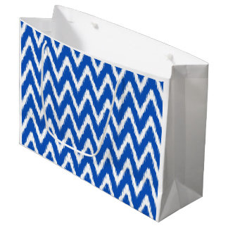 Sapphire Asian Moods Ikat Chevrons Large Gift Bag