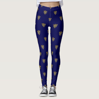 Sapphire Blue-and-Gold Patterned Leggings