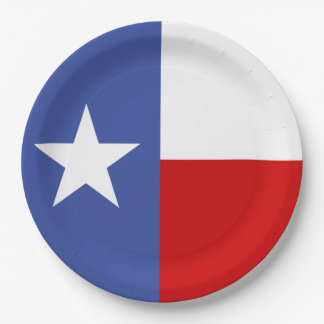 Sapphire Blue and Red Texas Flag 9 Inch Paper Plate
