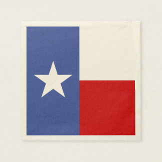 Sapphire Blue and Red Texas Flag Disposable Serviettes