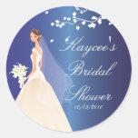 Sapphire Blue Bride Bridal Shower Sticker