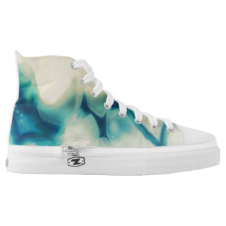 Sapphire Blue Cream Agate Geode Crystal Patterns Printed Shoes