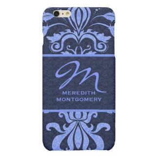 Sapphire Blue Damask Swirls | Monogrammed Case iPhone 6 Plus Case