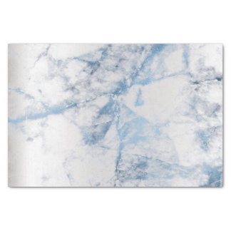 Sapphire Blue Gray Silver Marble Metallic Abstract Tissue Paper