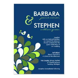 Sapphire Blue & Mint Green Wedding Invitations