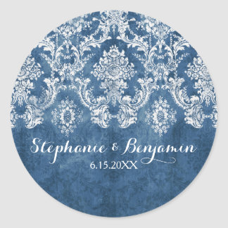Sapphire Blue Rustic Damask Pattern Wedding Round Sticker