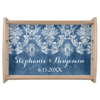 Sapphire Blue Rustic Damask Pattern Wedding Serving Tray