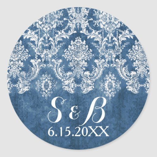 Sapphire Blue Rustic Damask Pattern Wedding Round Stickers