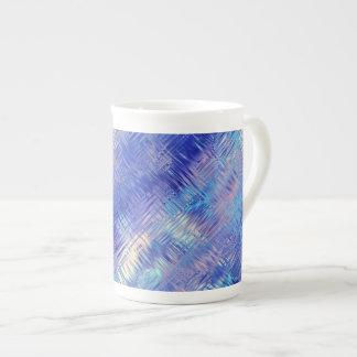 Sapphire Blue Scribbled Texture Bone China Mugs