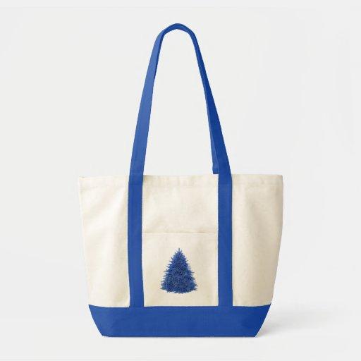 Sapphire blue tree canvas bag