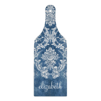 Sapphire Blue Vintage Damask Pattern and Name Cutting Board