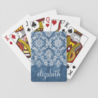 Sapphire Blue Vintage Damask Pattern and Name Playing Cards