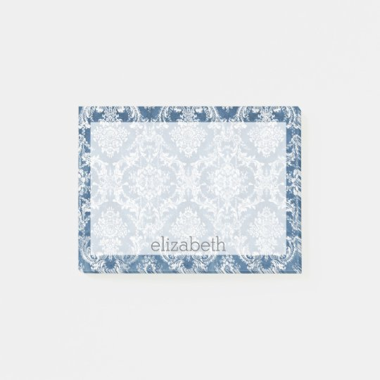 Sapphire Blue Vintage Damask Pattern and Name Post-it Notes